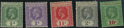 Gilbert & Ellice Islands, SG 27/35, 1922 Script set of 5v to 10/- fine mint, Cat