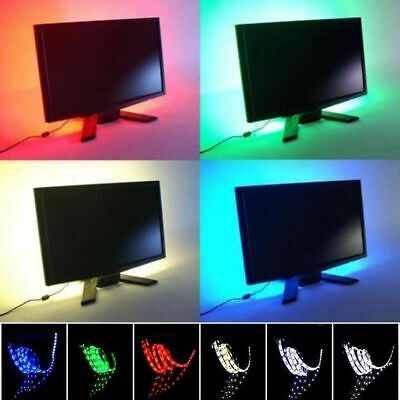 USB Powered RGB Colour Changing 1M 5050 LED Strip TV Background Ambient Lighting