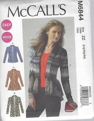 McCALL'S SEWING PATTERN MISSES' CARDIGANS  SIZES XSM -XXL  M6844