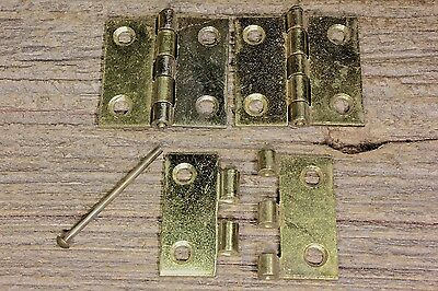 "3 Cabinet door hinges removable pin brass COLOR 1 1/2 x 1 1/2"" box vintage Japan"
