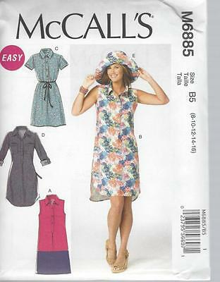 McCALL'S SEWING PATTERN MISSES' DRESSES & HAT SIZES 8 - 24 M6885