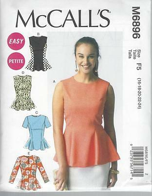 McCALL'S SEWING PATTERN MISSES' CLOSE FITTING & FLARED TOPS SIZES 8 - 24 M6896