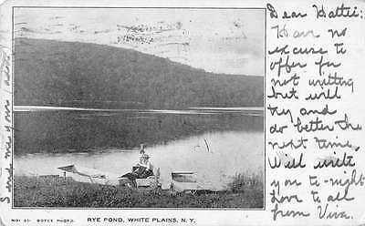 White Plains New York scenic view Rye Pond boats fishermen antique pc Z11490