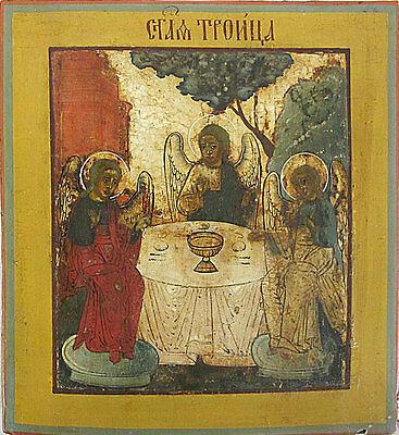 Old Antique Russian Icon of OLD TESTAMENT TRINITY, 19th c