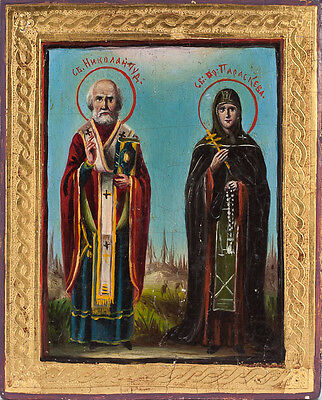 Old Antique Russian Icon of ST. NICHOLAS AND ST. PARASKEVA, 19th c