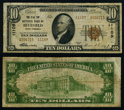 Bluefield WV $10 1929 T-2 National Bank Note Ch #11109 Flat Top NB Fine+