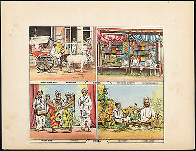 Antique Print-HACKNEY COACH-NAUTCH-JUGGLER-INDIA-Moerlein-1886