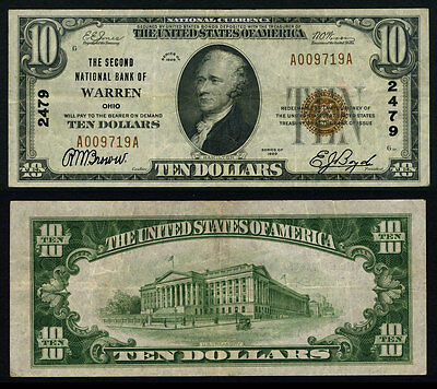 Warren OH $10 1929 T-1 National Bank Note Ch #2479 Second NB Very Fine+