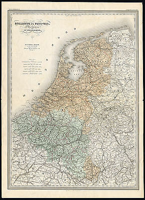 Antique Map-THE NETHERLANDS-HOLLAND-BELGIUM-LUXEMBOURG-Dufour-Dyonnet-1880