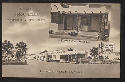 Postcard TUCCUMCARI New Mexico/NM RT ROUTE 66  Cactus Motel Motor Court 1930's