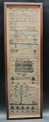 Fine American 18th C. Antique Textile Sampler w/ Adam & Eve & Dog w/ Prayer