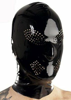 Latex Hood PERFORATIONS for Eyes and Mouth / BLACK / Made in UK / 209