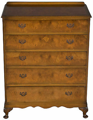 Vintage Queen Anne Antique Style Walnut Five Drawer Dresser Chest of Drawers FS!