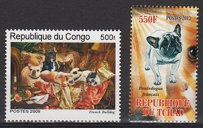 French Bulldog Dogs 2 different MNH stamps FRBU15