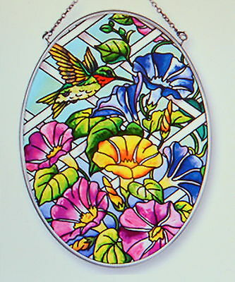 "Hummingbird Birds Stained Glass Suncatcher Hanger NIP by Amia 7"" high"