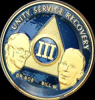 AA Founders 3 Year Medallion Sobriety Chip Gold & Ocean Breeze Blue Token Coin