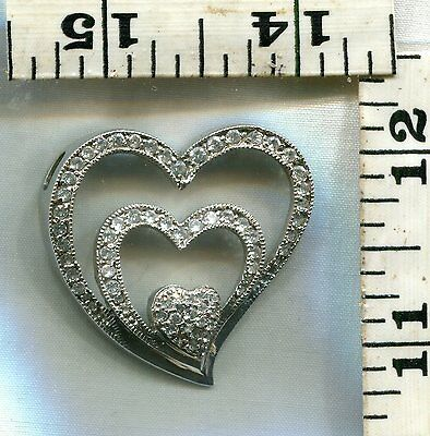Vintage Sterling Pendant~Large Rhinestone Heart Shown~$21.00!!!!!