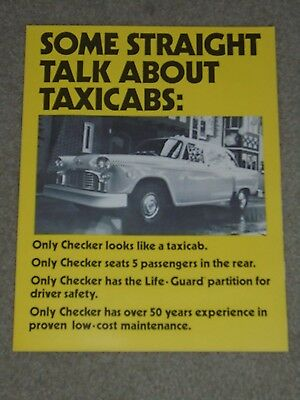 RARE 1978 Checker Taxicabs Fold Out Sales Brochure with Business Card!