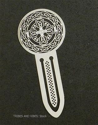 Bookmark Celtic Cross Triquetra metal Sea Gems carded NEW 75mm 3inch