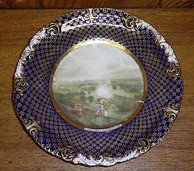 REPAIRED - Antique Copeland Porcelain Plate - VIEW FROM RICHMOND HILL - AS IS