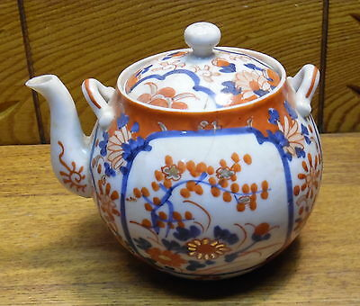 Antique Canton Chinese Porcelain Teapot - Cracked