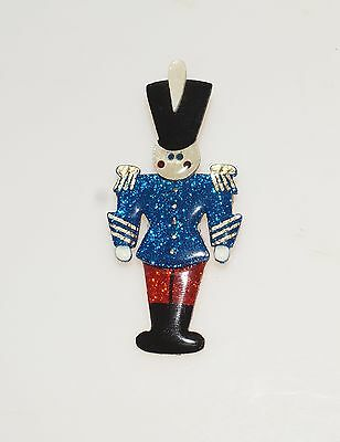 Toy Soldier Red Blue Glitter Christmas Pin Brooch 2.75""