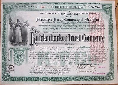 1906 Gold Bond: BROOKLYN FERRY Co., Knickerbocker Trust Company - New York, NY