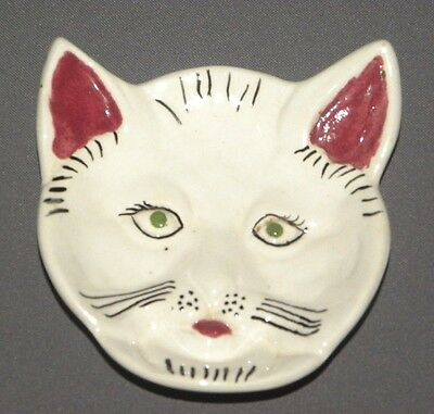 Vintage Small Decorative Cat Dish Plate White Porcelain Kitty Face