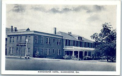 Manchester, Georgia Postcard MANCHESTER HOTEL Street View Pub by City Drug Co.