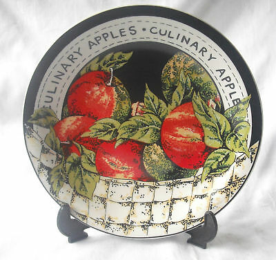 """New Regency Fine Porcelain 8"""" Fruit Plate With Display Stand Culinary Apples"""