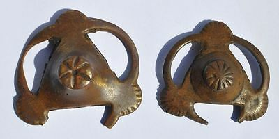 9-10th Century Antique Viking Relic Thick Bronze Buckle Decoration Detail 2 PCS