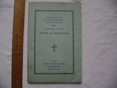 1926 Proceedings of 107th Convention of Evangelical Lutheran Synod of Maryland
