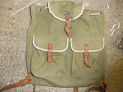 Rucksack traditional 1950's canvas & leather 38x35cm flat nice usable condition