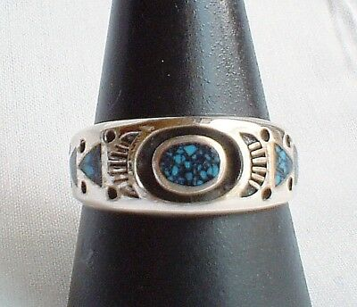Heavy 925 Sterling Silver Turquoise Inlay Ring~Native American Style~Jewellery