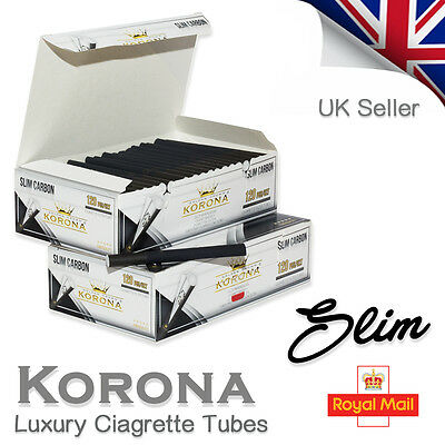 120 Korona Slim Black Carbon Empty Cigarette  Filter Tubes