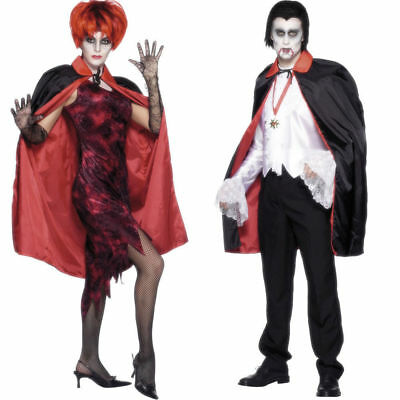 Reversible Cape Ladies Halloween Vampire Vampires Fancy Dress Accessory
