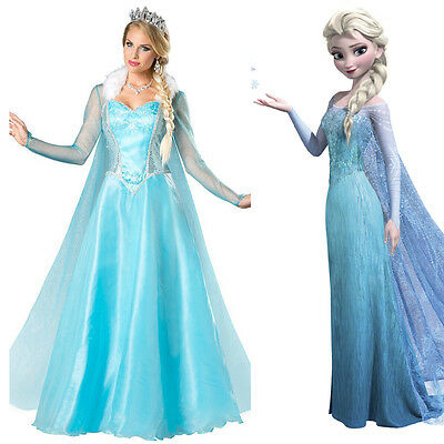 Halloween Outfit Frozen Elsa Costume Dress Ice Queen Cosplay Adult Ladies Dress