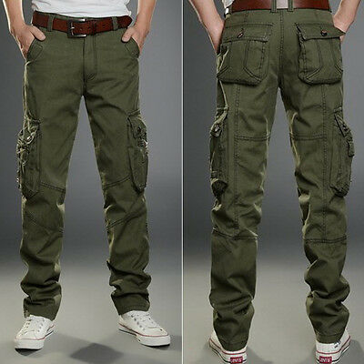 Mens Military Army CARGO CAMO Cargo Casual Combat Work Wear Trousers Pants