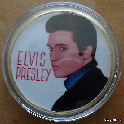 ELVIS PRESLEY THE KING OF ROCK N ROLL  24K GOLD  PLATED MEMORABILIA COIN #45s