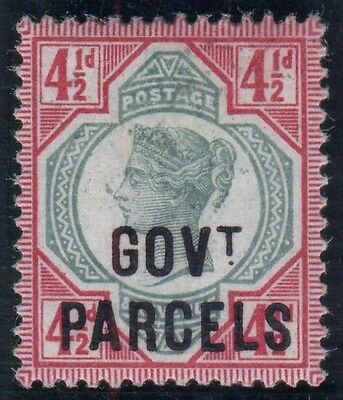 Sg O71 4½d Green & Carmine OVPT GOVT PARCELS.  A fine mounted mint example