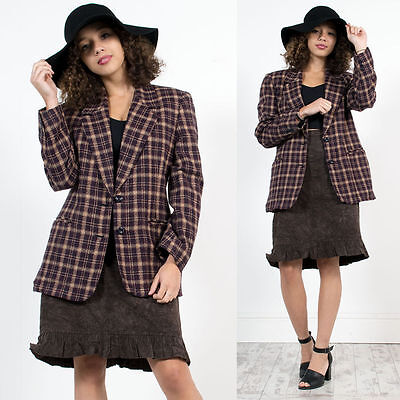 Womens Vintage Check Plaid Tweed Country Chic Blazer Jacket Equestrian 14