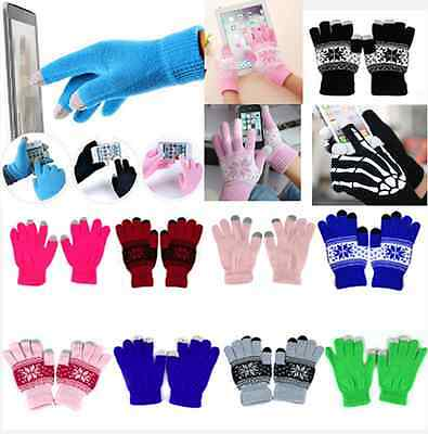 3 style Unisex Smart Phone Tablet Touch Screen Gloves Warm Winter Mitten hs