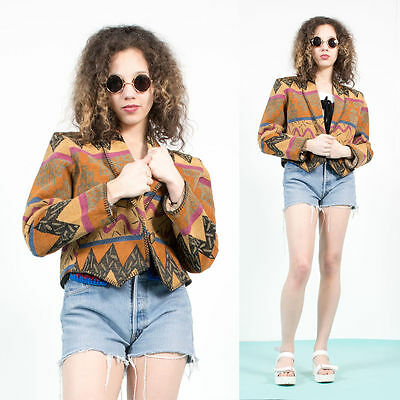 Womens Vintage 80's Bold Aztec Patterned Print Tapestry Cropped Blazer Jacket 14