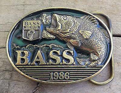 Bass Anglers Sportsman Society 1986 Fishing Fish 1980's Vintage Belt Buckle