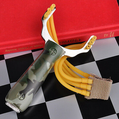 Stainless Steel Handle Outdoor Pro Hunting Catapult Slingshot + Free Ammo Sling