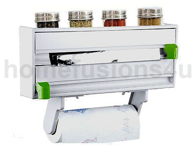 4 In 1 Wall Mounted Kitchen Roll Cling Foil Towel Cutter Spice Rack Holder White