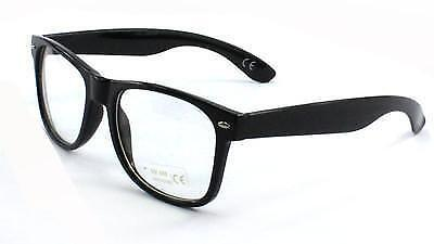 Retro Geek Vintage  Nerd Frame Fashion Black Round clear lense glasses