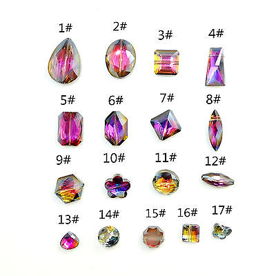 mixed Faceted CRYSTAL glass  Loose Spacer beads Purple black