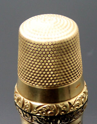 Superb Vintage Embossed Scroll Edge 14K Yellow Gold Thimble Size 10
