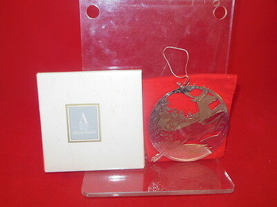 1O AVON 1992 Silverplate Christmas Ornament REINDEER w/ BOX